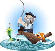 Illustration of a fisherman in a boat - stock illustration