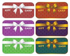 Colorful gift cards with decorative ribbons vector design - stock illustration