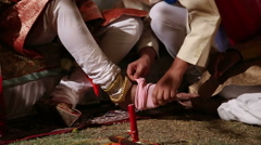 Ceremony part of traditional hindu wedding in Jodhpur. Stock Footage