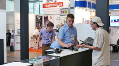 Exhibition  scene  of media  technologies in  business hall .4K 3840x 2160 Stock Footage