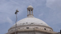Capitol building dome and tv news antenna Stock Footage