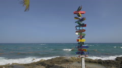 All directions sign at Xcaret Park in Cancun - stock footage