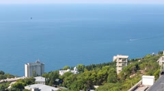 Waterscape of the sea and city from mountain Ay-petri. - stock footage