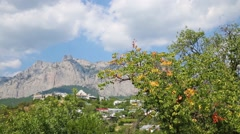 Landscape of the mountain Ay-petri and town with many trees. Stock Footage