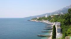 Landscape of blue sky, hills, coastline in the bay. Stock Footage