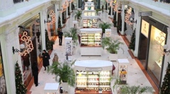 Interior of Petrovsky Passage - modern shopping complex Stock Footage