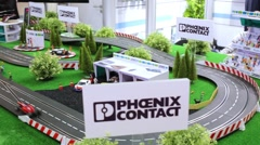 Race track model at Mosexpo pavilion during exhibition Stock Footage