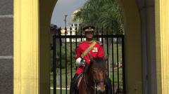 Zoom in, Guardsman on horseback at the Royal Palace, Kuala Lumpur Stock Footage