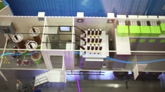 Model of electrical substation at Mosexpo pavilion during exhibition Stock Footage