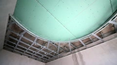 Two-leveled suspended ceiling made of gypsum plasterboard in room Stock Footage