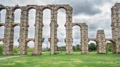 Front view of Aqueduct of the Miracles in Merida - stock photo