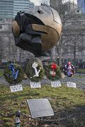 New York City WTC Globe Memorial in Battery Park Downtown Manhattan - stock photo