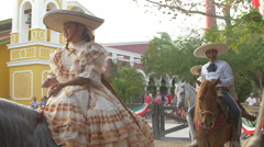 Stock Video Footage of Mexican people riding horses in Cancun