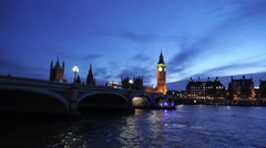 Stock Video Footage of Awesome wide angle shot of Westminster Bridge and Big Ben