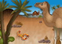 Cartoon Desert Landscape - stock illustration