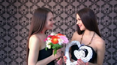 Lesbian women kissing in erotic foreplay game Stock Footage