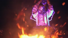 Night ritual fire. Voodoo cult. The human monster. - stock footage