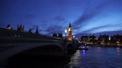 The Westminster Bridge London at blue hour in the evening - stock footage
