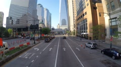 Transportation in Lower Manhattan with One World Trade Center view Stock Footage