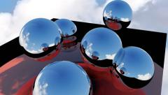 Abstract screensaver 3d with sphere and sky Stock Footage