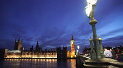 Houses of Parliament from Westminster Bridge in the evening - stock footage