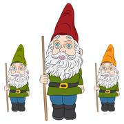 Garden Gnome Set - stock illustration