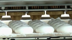 Manufacture marshmallow in a chocolate factory Stock Footage