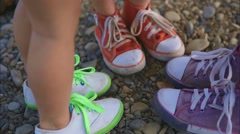 Walking Kids Feet in Sneakers - stock footage