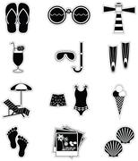 Summer and  holidays attributes in black stickers style - stock illustration
