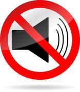 Sign icon ban sound Stock Illustration