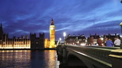 Stock Video Footage of The famous Big Ben and Westminster Bridge - great blue sky