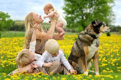 Mother and Three Children Playing in Flower Meadow Stock Photos