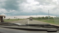 The view from the car, which follows the truck on suburban routes. Stock Footage