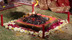 Sacred fire at traditional hindu wedding in Jodhpur. Stock Footage