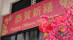 Chinese New Year flowers at Central Market, Kuala Lumpur, Malaysia Stock Footage