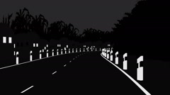 Animation of the road in Black and white color - stock footage