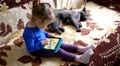 Cat sleep and child on a couch playing tablet computer game sliding touchscre Footage