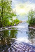 summer landscape waterfal - stock photo