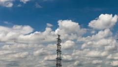 4K Timelapse Electric Transmission Tower Stock Footage