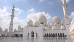 Time lapse of clouds passing over the Sheikh Zayed Grand Mosque Stock Footage