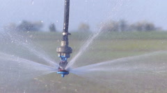 Field irrigation in spring - stock footage
