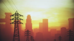 4K High Electric Voltage Poles and Huge Smoggy Metropolis in the Sunset Sunri Stock Footage