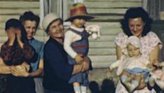 USA 1940's: family portrait Stock Footage