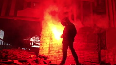 red hand flare. distress signal - stock footage