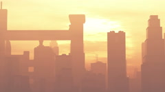 4K Huge Smoggy Metropolis in the Sunset Sunrise 3D Animation 1 flat - stock footage