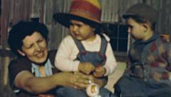 USA 1940's: mother with her children - stock footage