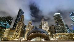 Chicago Bean at Night - stock footage