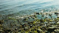 Ocean water, Long Island Sound at Silver Sands State Beach, tides Stock Footage