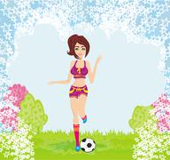 Sexy girl playing football Piirros