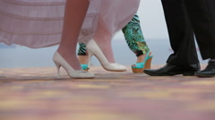 Groom And Bride Dancing At The Nature Stock Footage